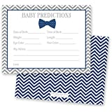 48 Bow Tie Baby Shower Prediction Cards (Navy)