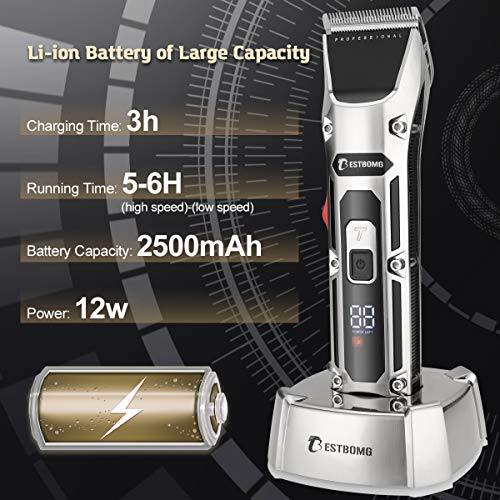 BESTBOMG Professional Mens Hair Clippers Cordless Hair Trimmer Haircut & Grooming Kit For Men Beard Trimmer Rechargeable LED Display Charging Stand with 4pcs Hair Guard Combs 5 Taper Levers