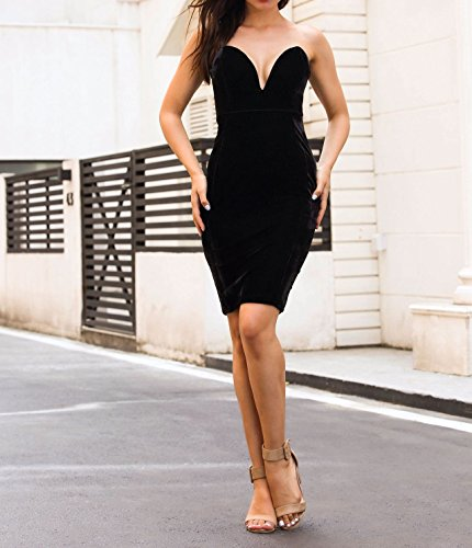 Sexy Plunging Women's Party Midi Velvet Sweetheart Black Dress Formal Bodycon Dress A1wSFUYPwq