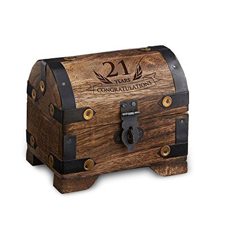 "Engraved Treasure Chest for 21st Birthday - Small - Dark Wood - Jewelry Box - Money Box - Wooden Storage Box - Birthday Present Idea - 4"" (10 cm) x - Engraved Personally"