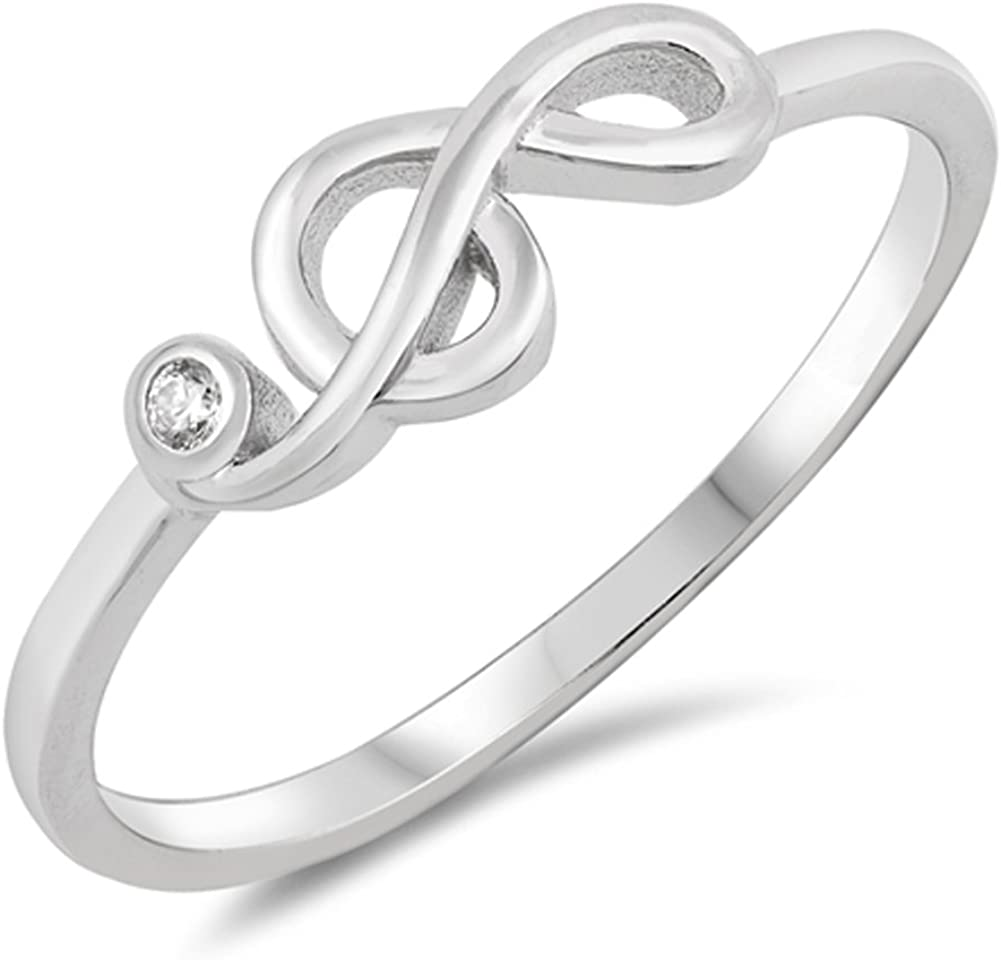 CloseoutWarehouse Cubic Zirconia Treble Clef and Music Note Ring Sterling Silver