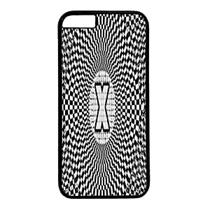 Black PC Case Cover For iPhone 6 Plus Durable Hard Plastic Cellphone Back Shell Skin For iPhone 6 Plus with Optical Illusion Monogram X Poster