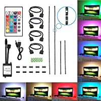 TV Backlight, Feewer 2x20in+2x40in Bias Lighting USB LED Light for HDTV Desktop, Waterproof LED TV Light with Wireless Remote Controller RGB LED Strip