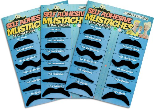 Allures & Illusions 36 Pack Fake Mustache Mustaches Novelty 36pk (Black) -