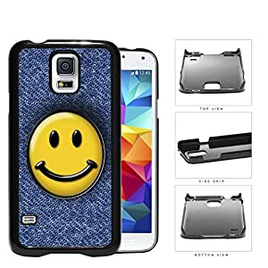 Smiley Face On Denim Jean Surface Hard Plastic Snap On Cell Phone Case Samsung Galaxy S5 SM-G900 BY supermalls