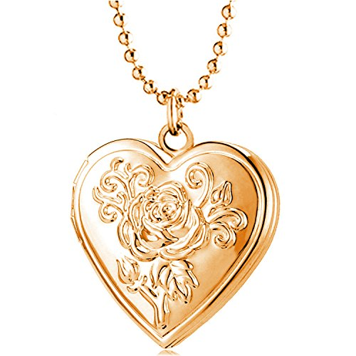 YOUFENG Love Heart Locket Necklace Pendant Flower Memories Photo Locket Charms Living Memory Locket Gold Plated (Rose Gold Flower Locket)