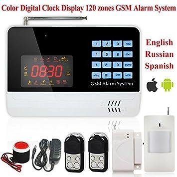 Pantalla ARBUYSHOP Nuevo 120 Defensa zonas de color Reloj Digital Display metal casero teledirigido inteligente de voz GSM 433MHZ Sistema de Alarma: ...