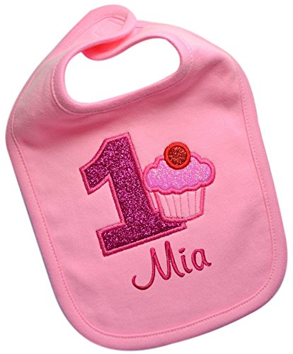 Handmade Embroidered Baby GIRL'S First Birthday SPARKLING CUPCAKE Year One Smash Bib with Custom Name (PINK - Bib 1st Birthday Personalized