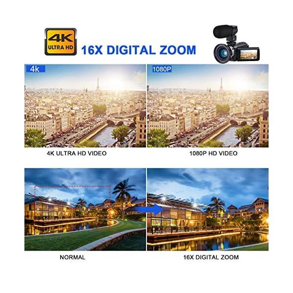 """Videocamera 4K, CofunKool WiFi Ultra Alta Definizione 48MP Digitale Videocamera, Sensore CMOS, IR Visione Notturna, 3.0"""" IPS Schermo, con Microfono e Obiettivo Grandangolare 5 spesavip"""