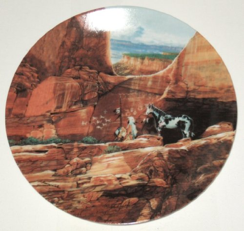 """The Bradford Exchange: Fourth Issue in THE FACES OF NATURE Collection - """"WOLFPACK OF THE ANCIENTS"""" by Julie Kramer Cole and Issued on W.S. George Fine China - Limited Edition Decorative Plate Native American Design"""