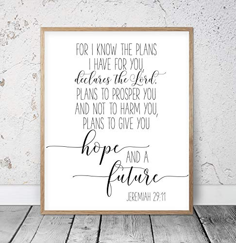 Bible Verse Art For I Know The Plans I Have For You To Give You Hope And a Future Jeremiah 29:11 Scripture Printable Christian Wall Art Wood Pallet Design Wall ()