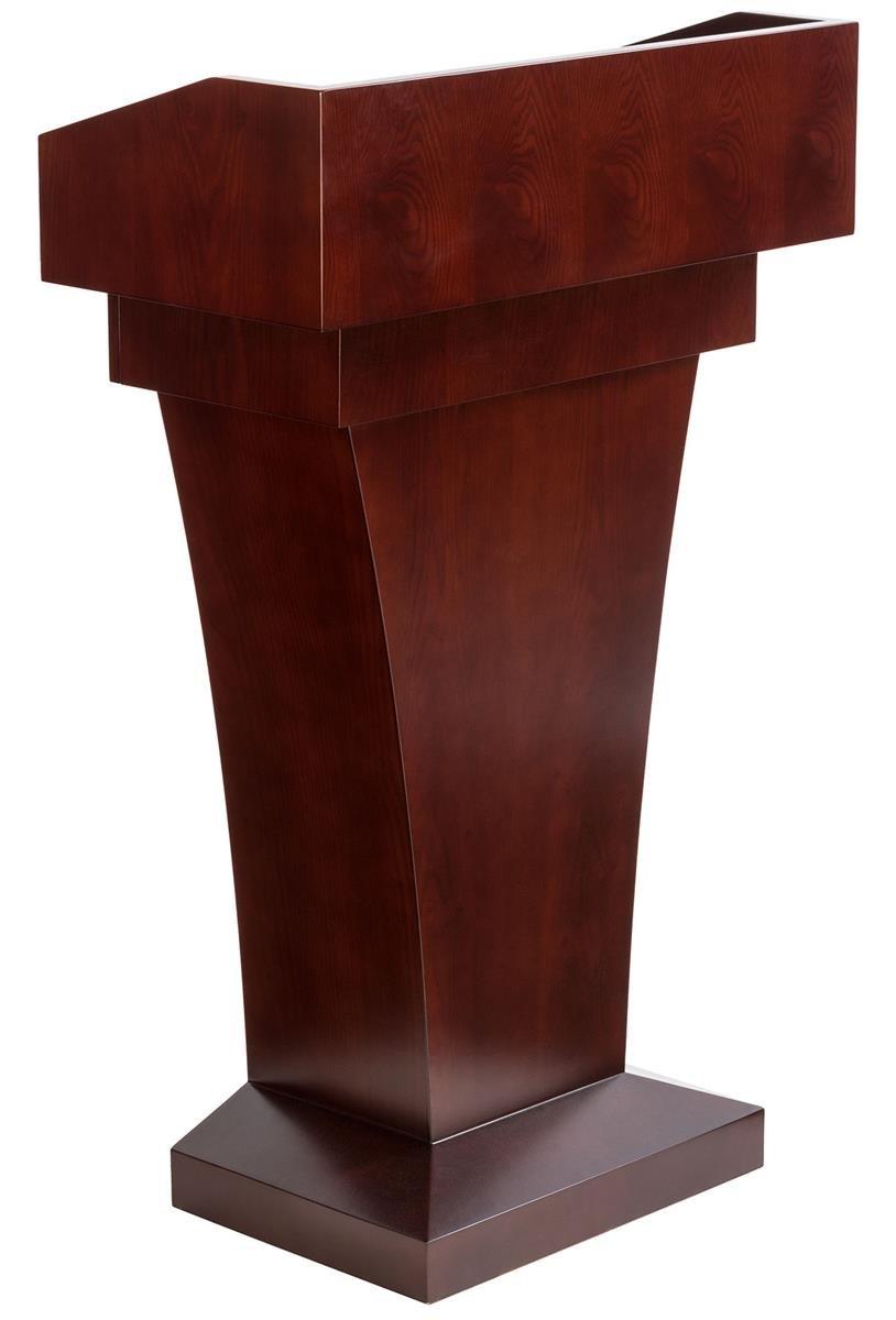 Wood Speaking Lectern, Drawer and Storage Area Mahogany MDF Wood Grain