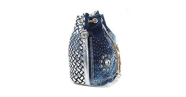 Amazon.com: kebinai Mujer Denim Bolso Rhinestone bolsa con ...