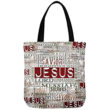 0db6c504e68f InterestPrint Vintage Jesus Religious Bible Verse Unisex Canvas Tote Canvas  Shoulder Bag Resuable Grocery Bags Shopping Bags for Women Men Kids