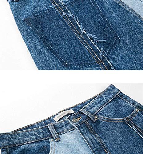 Aire Damas Blau Rectos Moda Mezclilla Para Con Color Bolsillos Casuales Jeans Sueltos Pantalones Al De Botón Libre Ropa Vaqueros HIawwU