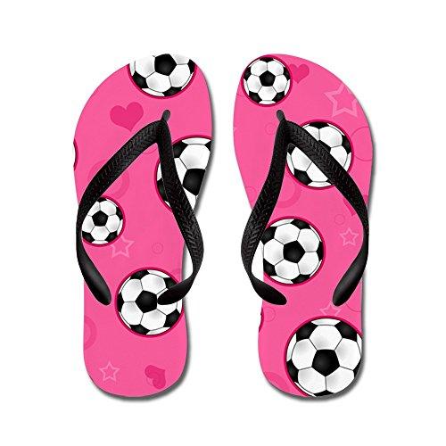 CafePress Cute Soccer Ball Print - Pink - Flip Flops, Funny Thong Sandals, Beach Sandals Black