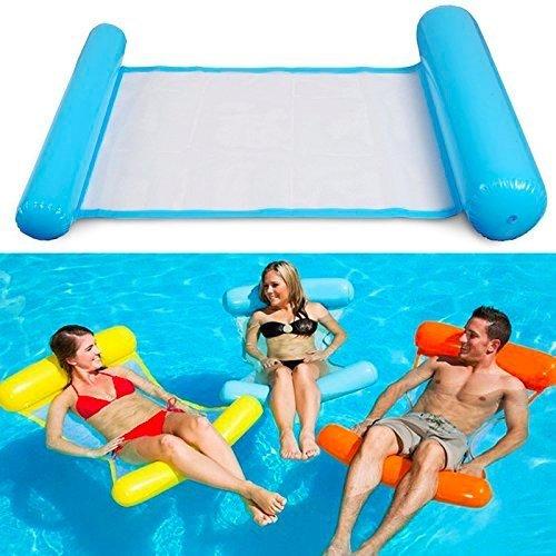 Colchoneta Flotador de Piscina Hamaca Flotante, Tumbonas Hinchables para Adultos de ASTA, Color Azul (Paquete de 1) 130x73cm Después de la Inflación