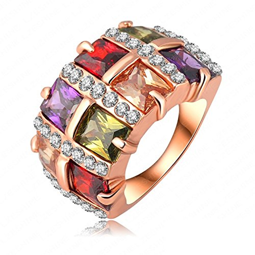 delatcha Jewelry Rose Gold Plate Multi-colored Square Crystal Ring Women