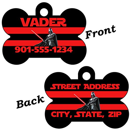 uDesignUSA Disney Star Wars Double Sided Pet Id Dog Tag Personalized w/4 lines of Text (Darth Vader) ()