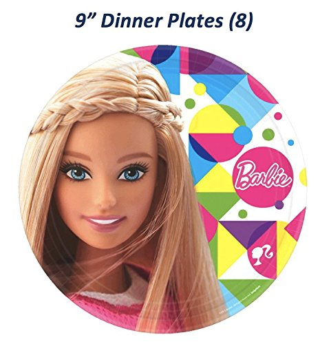 """Barbie Sparkle Deluxe Birthday Party Bundle (Serves 8 inc Table Cover) - 5 Items: 8-9"""" Dinner Plates, 8-7"""" Desert Plates, 16 Large Lunch Napkins, 8-9oz Cups, Table Cover"""