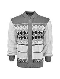 Mens Classic Cardigan Argyle Casual Design Thick Knit Warm Zipper Sweater Jumper