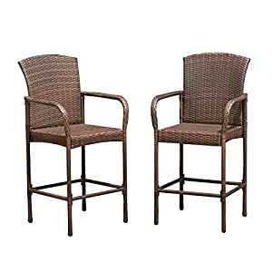 Good Costway Rattan Wicker Bar Stool Outdoor Backyard Chair Patio Furniture With  Armrest U2013 Set Of Two