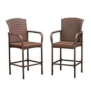 Outdoor Rattan Wicker Bar Chair Seat Patio Furniture With Armrest 2 PCS