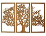 Tree of Life 3D Cherry - 3 Panel Wood Wall Art - Beautiful Living Room Decor - Skyline Workshop