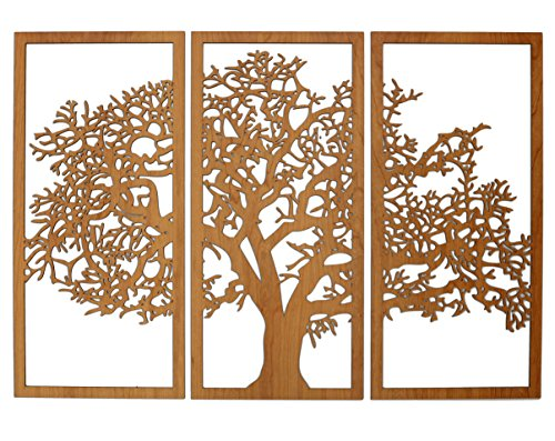 Tree Of Life 3d Cherry Finish 3 Panel Wood Wall Sculpture
