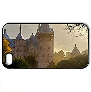 Awsome castle - Case Cover for iPhone 4 and 4s (Watercolor style, Black)