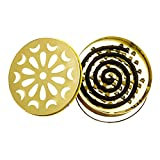 Juesi Mosquito Coil Holder, Stainless Steel Tray Fireproof Mosquito Repellent Plate Easy Portable Mosquito Repellent Sandalwood Incense Coil Burner (Gold)