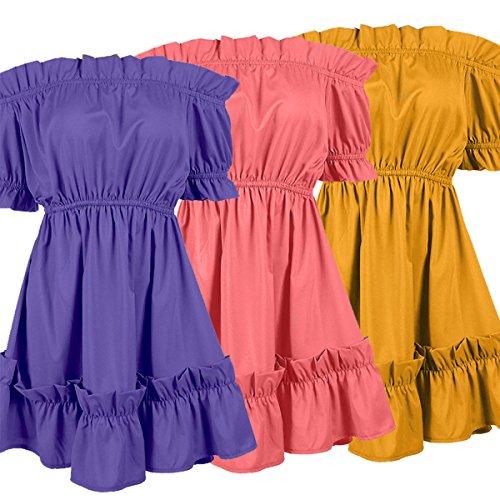 Hem Sexy Party Off High Women Dress Shoulder Mini Short The Waist Pink Ruffle Sleeve qgUxXfw