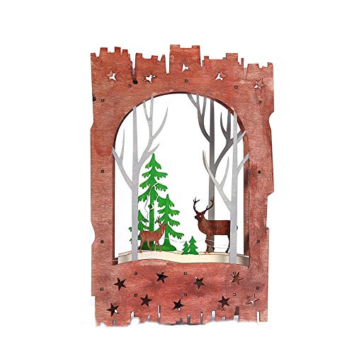 Iusun Tabletop Christmas LED Lights Deer Decoration Wooden House Bedroom Desk Window Ornament Bonsai for Home Office Supplies Gift (Coffee)