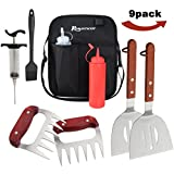 ROMANTICIST 9Pcs Professional Grade Grill Griddle Accessories BBQ Tool Kit - Spatulas, Meat Claw, Meat Injector, Condiment Bottles, Basting Brush,Storage Bag