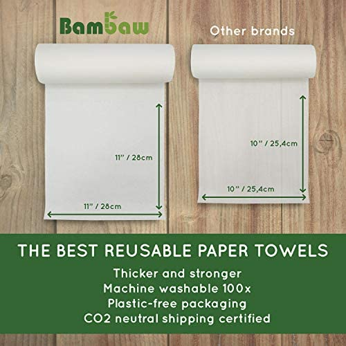 Reusable Paper Towel | Bamboo Eco Kitchen Roll | Heavy responsibility & Multipurpose | Strong, Thick and Absorbent | Eco Cloth | Eco cleansing | Soft on Skin | Quick Dry | 20 Eco Wipes | Bambaw