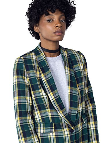 The Styles Plaid Tux Blazer,Green/Yellow,Large (Fully Lined Shirt Jacket Suede)