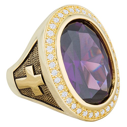 HKN1682 Designs Purple Amethyst Cubic Zirconia 14k Gold Plated Bishop Cross Midre Ring (11)