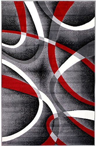 - Summit L8-5Y13-X3Q1 ST34 Area Rug Black Red Gray Modern Abstract Many Aprx Sizes Available , 22'' INCH X 7 FOOT RUNNER