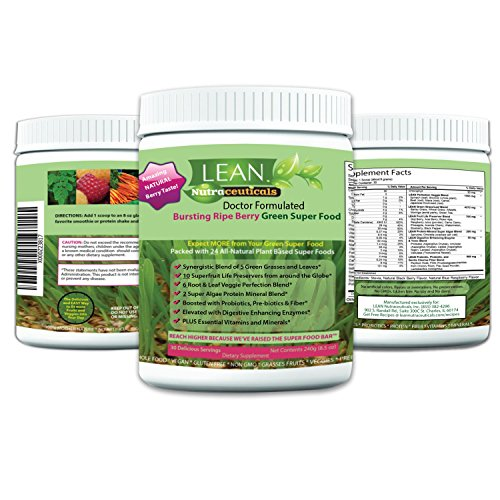 Lean Nutraceuticals Greens Powder - Green Superfood Doctor Formulated Wheat Grass Spirulina Chlorella with 24 Raw Orac Green Powder Immunity Boosting, Detox, Alkalizing 240g 30 Servings (Best Fruit Ninja Score)