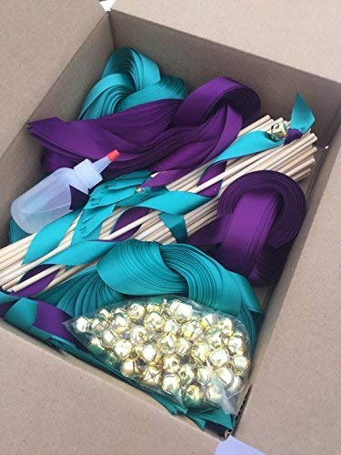 75 DIY Wedding wand kit ribbon send off your choice of colors ()