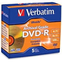 VERBATIM 96320 / 5PK DVD-R 8X ULTRALIFE ARCHIVAL GRADE GOLD SHINY JEWEL CASE