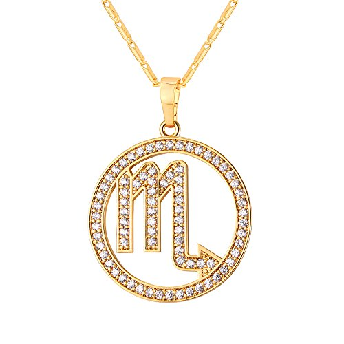 U7 Scorpio Zodiac Pendant Hollow Fashion with Cubic Zirconia Women & Men Birthday Gift Constellation Jewelry 18K Gold Plated Necklace