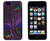 retro 5s grape - Purple Peacock Feather Embossed Slim Fit Hard Case for Apple iPhone 5S / 5 (AT&T, Verizon, Sprint, International) - Includes DandyCase Keychain Screen Cleaner [Retail Packaging by DandyCase]