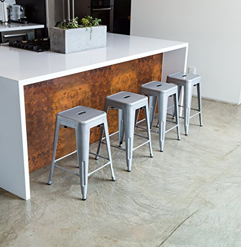 "Kitchen Island With 4 Chairs: UrbanMod 24"" Counter Height Bar Stools By Silver Barstools"