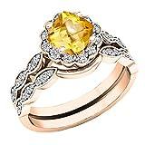 14K Rose Gold 5.5 MM Cushion Gemstone & Round Diamond Ladies Halo Style Engagement Ring Set