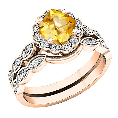 Dazzlingrock Collection 14K 5.5 MM Cushion Citrine & Round Diamond Ladies Halo Engagement Ring Set, Rose Gold, Size 7.5