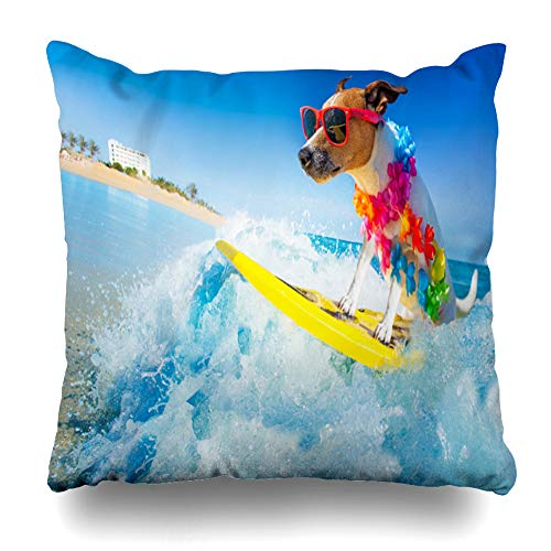 Ahawoso Throw Pillow Cover Square 16x16 Russell Funny Jack Dog Surfing On Wave Sports Recreation Summer Surf Holiday Beach Pet California Zippered Cushion Pillow Case Home Decor Pillowcase
