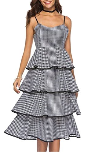 Generic Womens Western Plaid Open Back Wedding Spaghetti Straps Layered Long Dress Black L