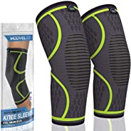 MODVEL 2 Pack Knee Compression Sleeve   Best Knee Brace   Knee Support for Arthritis, ACL, Meniscus Tear, Runn