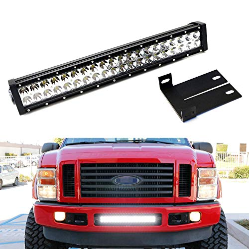 iJDMTOY Lower Grille 20-Inch LED Light Bar Kit For 2008-2010 Ford F250 F350 F450 Super Duty, Includes (1) 120W LED Lightbar, Lower Bumper Opening Mounting Brackets & On/Off Switch Wiring Kit (Bar Light F350 Mount)